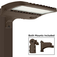 19,500 Lumens - LED Parking Lot Fixture - 4000 Kelvin - Color Matches Metal Halide - 150 Watt - Comes with Mounting Arm and Slipfitter - Photocell Receptacle (Photocell Sold Separately), and 10kV Surge Protector - 5 Year Warranty