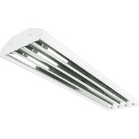LED Ready High Bay -  Operates 4 Single-Ended Direct Wire T8 LED Lamps (Sold Separately) Non-Shunted Sockets - Chain Mount - White Finish