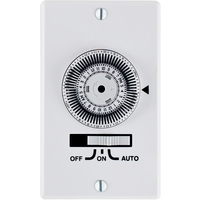 Mechanical In-Wall Timer Switch - Single Pole - White - 36 On/Off Operations Per Day - 120 Volt - Intermatic KM2ST-1G