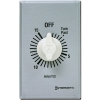 Intermatic FF15MC - Commercial Spring Wound In-Wall Timer Switch - Auto-Off - 15 Min. Time Cycle - SPST - Metal Finish
