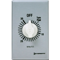 Intermatic FF30MC - Commercial Spring Wound In-Wall Timer Switch - Auto-Off - 30 Min. Time Cycle - SPST - Metal Finish