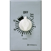 Intermatic FF12HHC - Commercial Spring Wound In-Wall Timer Switch - Auto-Off - 12 Hr. Time Cycle - SPST - Hold Feature - Metal Finish