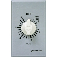Intermatic FF6H - Commercial Spring Wound In-Wall Timer Switch - Auto-Off - 6 Hr. Time Cycle - SPST - Metal Finish