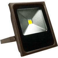 4600 Lumens - 4000 Kelvin - 50 Watt - LED Flood Light Fixture - Height 11.63 in. - Width 9.78 in. - Depth 2.65 in. - 120-277V - 5 Year Warranty - 25% Brighter Than 100W Metal Halide and Uses 50% Less Energy
