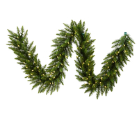 25 ft. Christmas Garland - Classic PVC Needles - Camdon Fir - Pre-Lit with LED Warm White Lights - Vickerman A861127LED