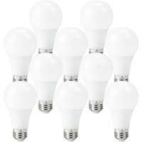 750 Lumens - 9 Watt - 60W Incandescent Equal - LED A19 - 4000 Kelvin Cool White - Dimmable - 10 Pack