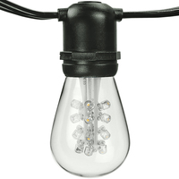 100 ft. - Patio Light Stringer - 48 Sockets - 24 in. Spacing - Black Wire - Male to Female - LED S14 Bulbs Included