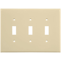 Almond - 3 Gang - Mid-Size - Toggle Wall Plate - Enerlites 8813M-A