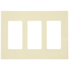 Leviton Decora 80311-ST - Decorator Wallplate - Screwless - Snap-On - 3 Gang - Light Almond