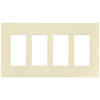 4 Gang Wallplate, Decora, Light Almond, Screwless, Sanp-On, Leviton 80312-ST