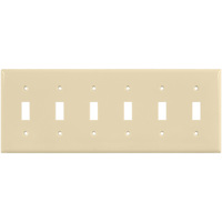 Almond - 6 Gang - Toggle Wall Plate - Enerlites 8816-A
