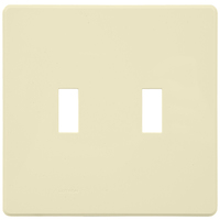 Light Almond - Screwless - 2 Gang - Toggle Wall Plate - Lutron Fassada FG-2-LA