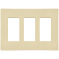 Almond - Screwless - 3 Gang - Decorator Wall Plate - Lutron Claro CW-3-AL