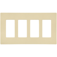 Almond - Screwless - 4 Gang - Decorator Wall Plate - Lutron Claro CW-4-AL