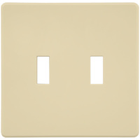 Almond - Screwless - 2 Gang - Toggle Wall Plate - Lutron Fassada FG-2-AL