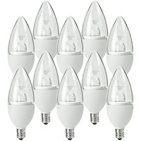 LED Chandelier Bulb - 4.5 Watt - 40 Watt Equal - Incandescent Match - 325 Lumens - 2700 Kelvin - Clear - Candelabra Base - 120 Volt - 10 Pack - PLT-11045-B-10PK
