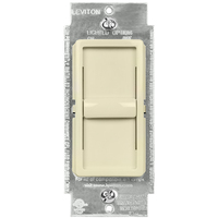 CFL/LED or Incandescent Dimmer - Single Pole - Light Almond - 600 Watt Maximum - Slide Switch - 120 Volt - Leviton Decora 6672-1LT