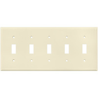 Ivory - 5 Gang - Toggle Wall Plate - Enerlites 8815-I