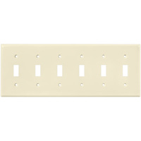 Ivory - Toggle Wall Plate - 6 Gang - Enerlites 8816-I
