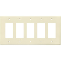 Ivory - 5 Gang - Mid-Size - Decorator Wall Plate - Enerlites 8835M-I