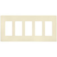 Ivory - Screwless - 5 Gang - Decorator Wall Plate - Enerlites SI8835-I