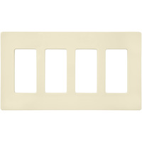 Ivory - Screwless - 4 Gang - Decorator Wall Plate - Lutron Claro CW-4-IV