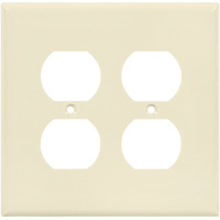 Ivory - 2 Gang - Mid Size - Duplex Receptacle Wall Plate - Enerlites 8822M-I