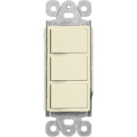 Ivory - 15 Amp Max. - Decorator Triple Switch - Single Pole - Rocker Switch - 120/277 Volt