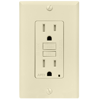 15 Amp Receptacle - AFCI Outlet - 125 Volt - Light Almond - Nema 5-15R