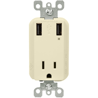 USB Charger - Dual Receptacle - Tamper Resistant - Light Almond - 15 Amp
