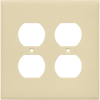 Almond - 2 Gang - Mid Size - Duplex Receptacle Wall Plate - Enerlites 8822M-A