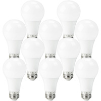 LED A19 - 3-Way Light Bulb - 40/60/100 Watt Equal - 10 Pack - 4/8/12 Watt - 500/1000/1500 Lumens - 3000 Kelvin Halogen - 120 Volt - PLT-11680-10PK