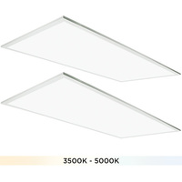 (2) 2x4 LED Panel Light - Color Adjustable from 3500 to 5000 Kelvin - 50 Watt - 5500-6250 Lumens - Opaque Smooth Lens - 5 Year Warranty - 2 Pack