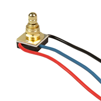 Turn Knob - On/Off Canopy Switch - 3 Way - Polished Brass - 6 Amp - 125 Volt