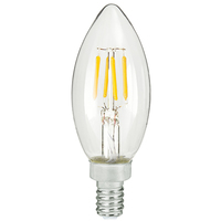 LED Chandelier Bulb - 4 Watt - 40 Watt Equal - 300 Lumens - 2200 Kelvin - Candle Glow - Clear - Candelabra Base - 120 Volt - TCP FB11D4022KE12C