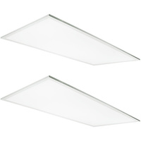 2 x 4 LED Light Fixture - Adjustable Wattage/Brightness - 3500 Kelvin - Equal to a 3-Lamp T8 Fluorescent Troffer - Opaque Lens - 2 Pack - TCP FP4UZDB135K