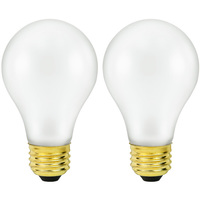 Shatter Resistant - 60 Watt - A19 Light Bulb - 2 Pack - Medium Brass Base - 130 Volt - Satco S3927