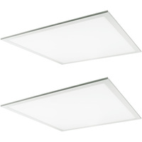 2 x 2 LED Panel - 3 Fixtures in 1 - Wattage Selectable 23, 29, 38 Watts - 90 Minute Emergency Backup - 4100 Lumens - 5000K - 2 Pack - TCP FP2UZD3850KEB