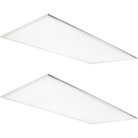 2 x 4 LED Panel - 3 Fixtures in 1 - Wattage Selectable 29, 39, 46 Watts - 90 Minute Emergency Backup - 5200 Lumens - 5000K - 2 Pack - TCP FP4UZD4650KEB