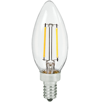 LED Chandelier Bulb - 2.5 Watt - 25 Watt Equal - 250 Lumens - 2700 Kelvin - Incandescent Match - Clear - Candelabra Base - 120 Volt - Bulbrite 776855