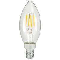 LED Chandelier Bulb - 4 Watt - 40 Watt Equal - 300 Lumens - 2700 Kelvin - Incandescent Match - Clear - Candelabra Base - 120 Volt - TCP FB11D4027EE12C