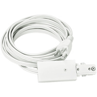 Nora NT-321W - Cord and Plug Set - White - Single Circuit - Compatible with Halo Track