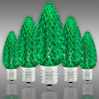 LED C9 - Green - Intermediate Base - Faceted Finish - 50,000 Life Hours - SMD LED Retrofit Bulb - 120 Volt - Pack of 25