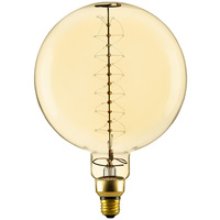 60 Watt - Vintage Light Bulb - G63 Globe - 7.87 in. Diameter - Spiral Filament - Multiple Supports - Antique Finish