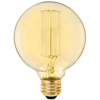 40 Watt - Vintage Light Bulb - G30 Globe - 3.75 in. Diameter - Hand-Wound Loop Thread Style Filament - Multiple Supports - Amber Tinted