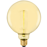 40 Watt - Vintage Antique Light Bulb - G40 Globe - 5 in. Diameter - Squirrel Cage Filament - Multiple Supports - Amber Tinted