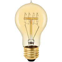 60 Watt - Vintage Light Bulb - A17 - Victorian Style - 4.18 in. Length - Quad Loop Filament - Amber Tinted