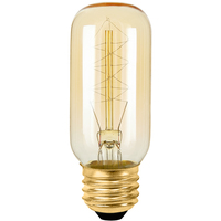 Radio Style - 40 Watt - 4 in. Length - Vintage Light Bulb - Amber Tinted - T12 - PLT T38 120V40W 13AS