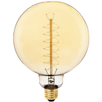 40 Watt - Vintage Light Bulb - G40 Globe - 5 in. Diameter - Spiral Filament - Multiple Supports - Amber Tinted