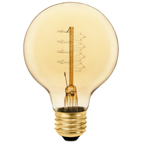 25 Watt - Vintage Light Bulb - G25 Globe - 3.15 in. Diameter - Spiral Filament - Multiple Supports - Amber Tinted